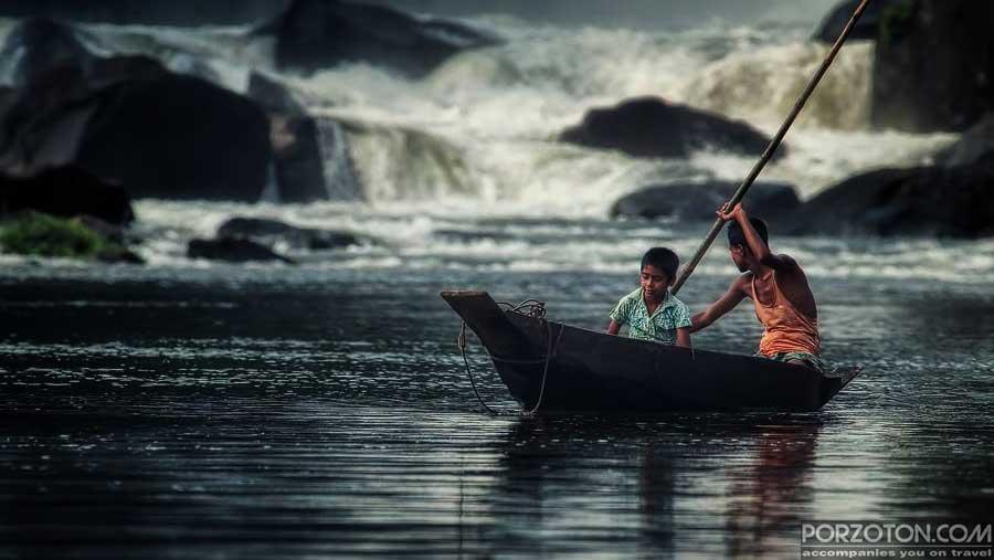 Wild water of Panthumai waterfall near Pangthumai village