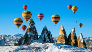 Cappadocia hot air ballons in winter season.