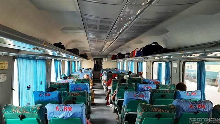 Interior view of Rajshahi to Khulna train Kapotaksha Express.