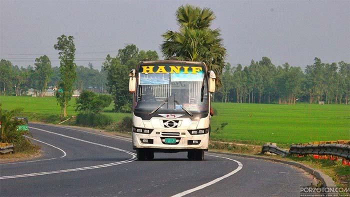 Hanif Enterprise Bus from Dhaka to Kurigram.