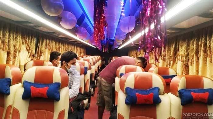 Interior view of a bus of Shyamoli Paribahan.