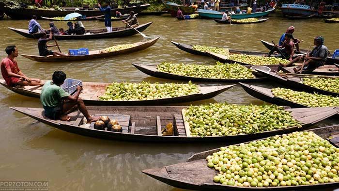 floating guava market, Jhalokati, Barisal.