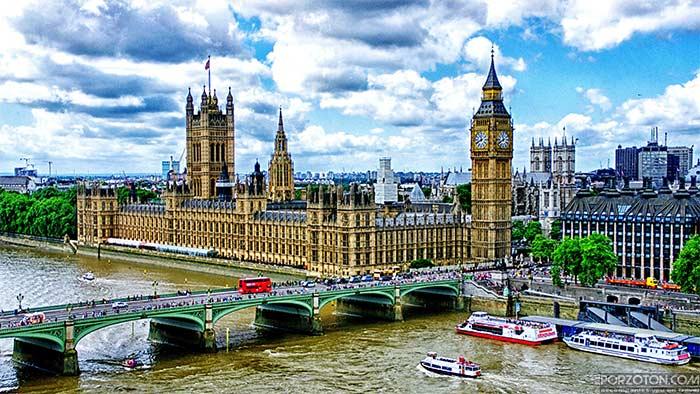 Big Ben Clock Tower, Parliament House, River Thames, London Bridge - porzoton.com