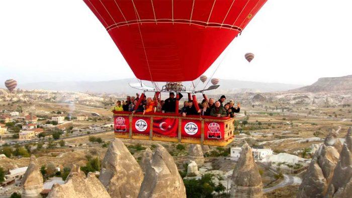 Cappadocia hot air balloons basket.